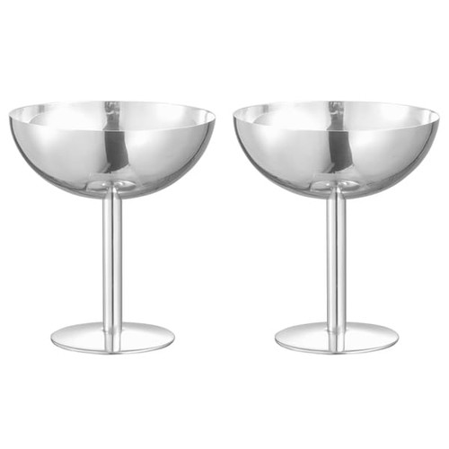 Visol Isabelle Stainless Steel Cocktail Glass - Set of Two - Silver