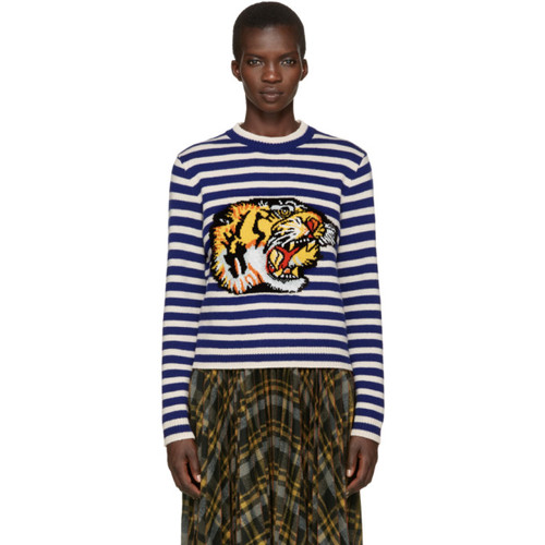GUCCI Blue & White Striped Tiger Sweater