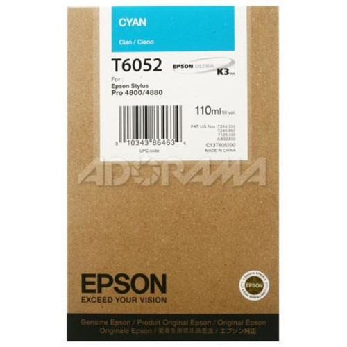Epson T605200 UltraChrome 110ml Pigment Ink, for Stylus Pro 4800, Cyan T605200