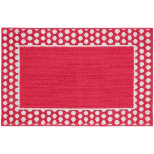 Garland Rug Polka Dot Frame Pink/White 5 ft. x 7 ft. Area Rug