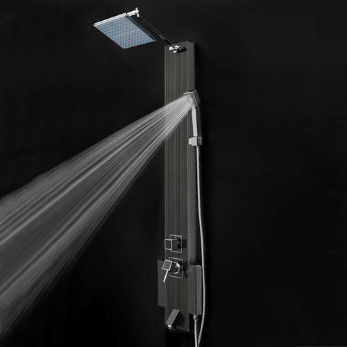 AKDY 48 in. Stainless Steel Shower Panel System in Black with Rainfall Shower Head, Hand Shower and Tub Spout