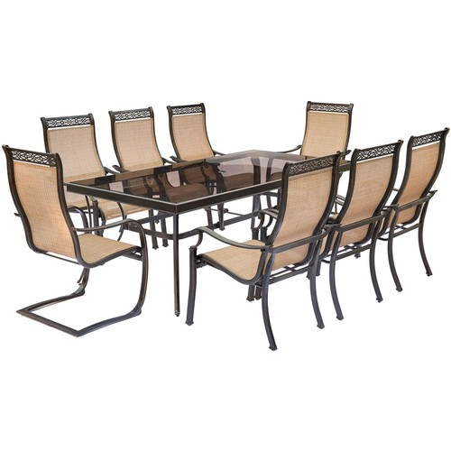 Hanover Monaco 9-Piece Aluminum Outdoor Dining Set with Rectangular Glass-Top Table and 2 Contoured Sling Spring Chairs