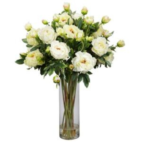 38 in. H White Giant Peony Silk Flower Arrangement