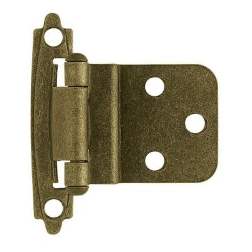 Liberty 3/8 in. Antique Brass Self-Closing Inset Hinge (1-Pair)