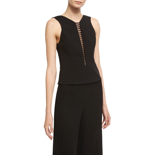 Narciso Rodriguez Sculpted Sleeveless Top with Ladder Inset, Black