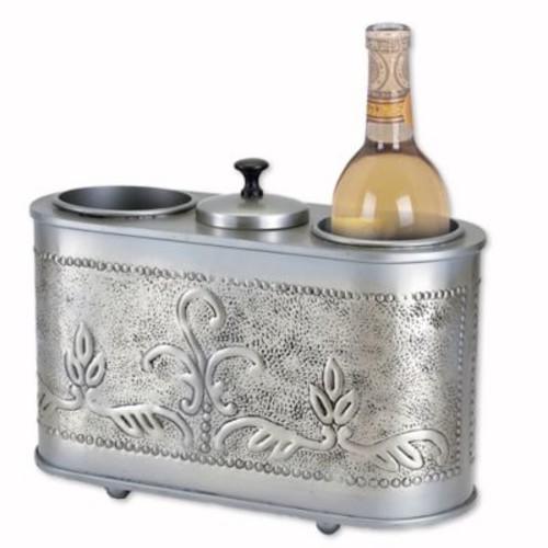 Dutch International Antique Embossed Victoria 2-Bottle Wine Chiller in Pewter