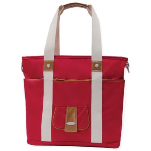 Vilah Bloom 2-Piece Harbor Side Diaper Tote and Cottage Clutch Set in Vineyard Red