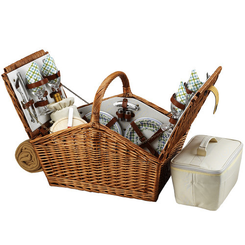 Picnic at Ascot Huntsman English-Style Willow Picnic Basket with Service for 4 and Blanket - Gazebo [Wicker with London Plaid Plates/Napkins]