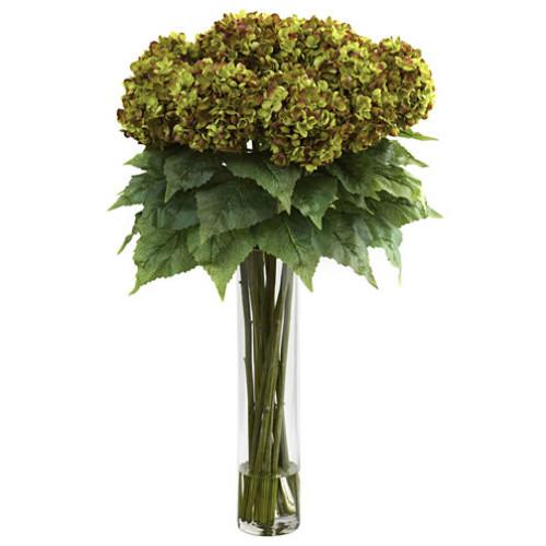 Nearly Natural Hydrangea w/Cylinder Silk Flower Arrangement