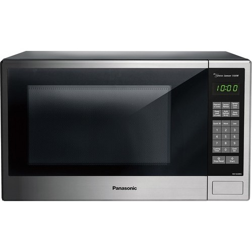 Panasonic - 1.3 Cu. Ft. Mid-Size Microwave - Stainless steel/black/silver