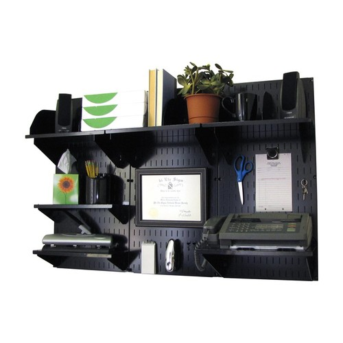 Wall Control 10-OFC-300 BB Office Wall Mount Desk Storage and Organization Kit, Black [Black/Black]