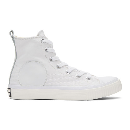 MCQ ALEXANDER MCQUEEN White Swallow Plimsoll High-Top Sneakers