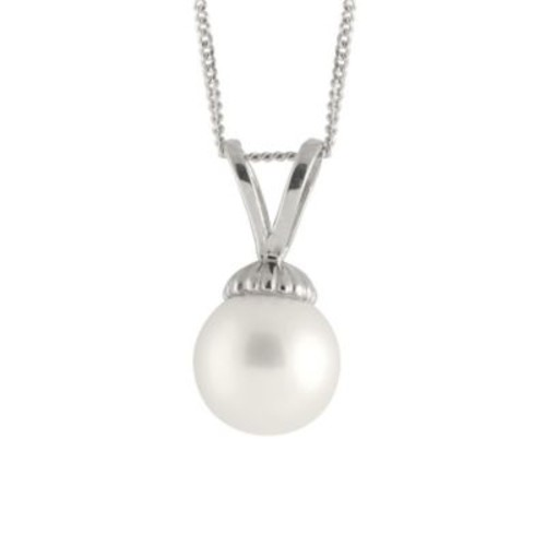 Splendid Pearls Sterling Silver 8mm Freshwater Cultured Pearl 17-Inch Chain Pendant Necklace