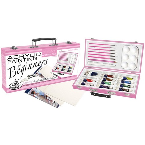 Royal Brush PA-ACR3000 Royal and Langnickel Pink Art Acrylic Painting Artist Set for Beginners, Pink [Acrylic]