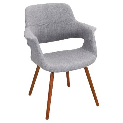 Vintage Flair Mid Century Modern Walnut Wood Legged Dining Chair Polyester/Light Gray - LumiSource