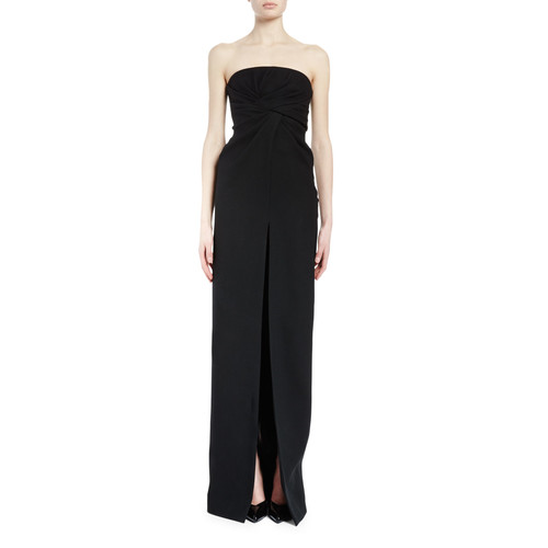 SAINT LAURENT Strapless Twist-Front Column Gown, Black