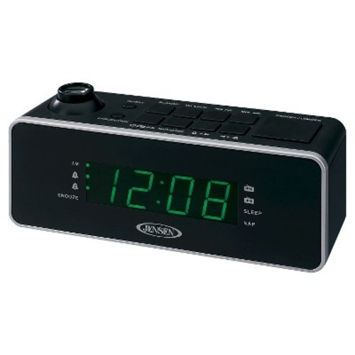 JENSEN AM/FM Dual Alarm Projection Clock Radio - Black