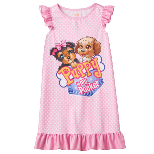 Puppy in My Pocket Girls' Ruffle Nightgown - Pink