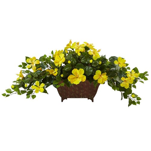 Nearly Natural 17 in. Hibiscus in Metal Planter