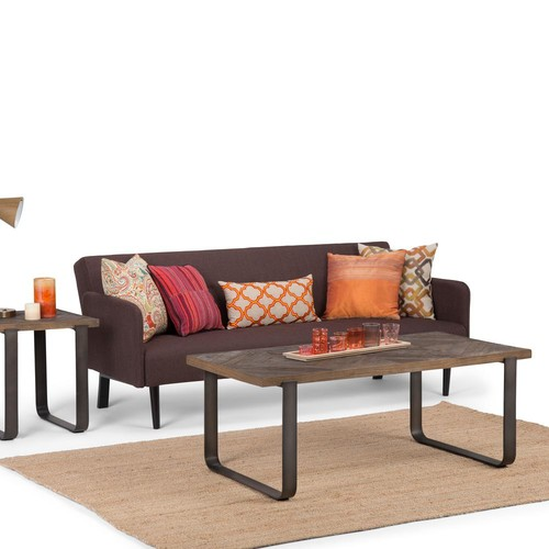 Simpli Home Peyton Distressed Java Brown Wood Inlay Coffee Table