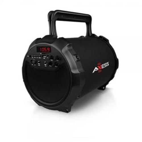 AXESS SPBT1036BK Portable Indoor/Outdoor Bluetooth Hi-Fi Cylinder 2.1 Speaker with 6 Subwoofer & 1 Wireless Mic, Black