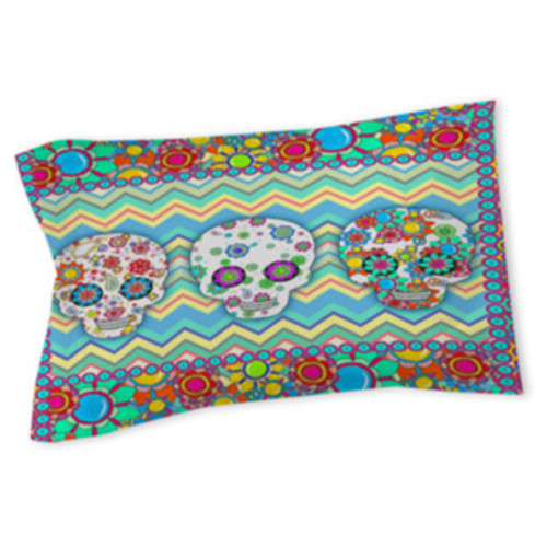 Sugar Skull Chevron Box Sham
