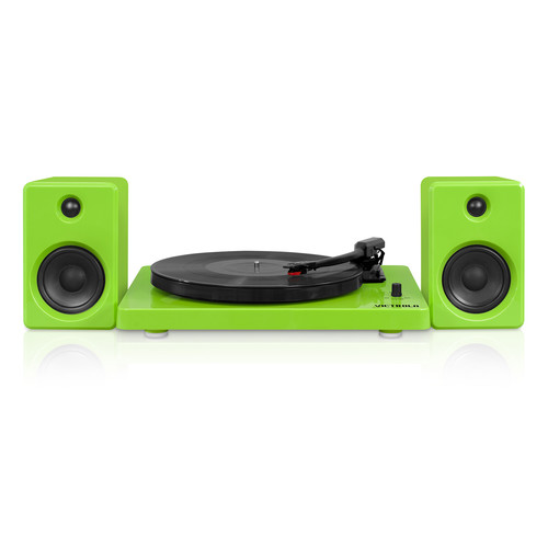 Victrola ITUT-420-GRN Modern design 50 watt Record Player with Bluetooth and 3 Speed Turntable