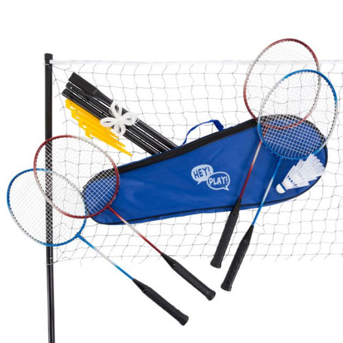 Badminton Set Complete Outdoor Yard Game with 4 Racquets, Net with Poles, 3 Shuttlecocks and Carrying Case for Kids and Adults by Hey! Play!