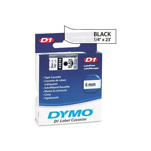DYMOamp;reg; D1 Standard Tape Cartridge for Dymo Label Makers, 1/4in x 23ft, Black on Clear