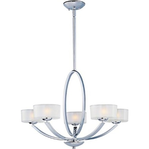 Maxim 19045FTPC Elle 5-Light Chandelier, Polished Chrome Finish, Frosted Glass, G9 Frost Xenon Xenon Bulb , 100W Max., Dry Safety Rating, 2700K Color Temp, Standard Dimmable, Glass Shade Material, 1150 Rated Lumens [Polished Chrome]