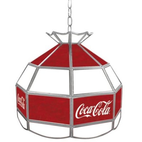 Vintage Coca-Cola Small Logo Stained Glass Pendant Billiard Lamp in Red/White