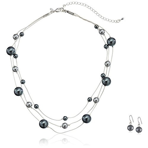 Colored Simulated Pearl Illusion Chain Earrings and Necklace Set [grey]