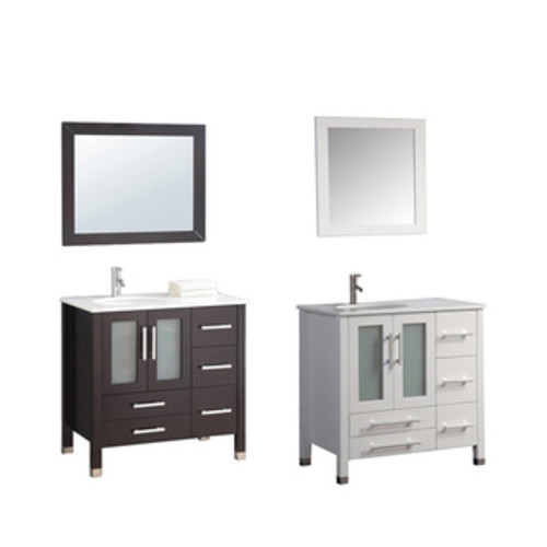 MTD Vanities Ricca 36-inch Single Sink Bathroom Vanity Set with Mirror and Faucet [option : Espresso Finish - $1,349.00]