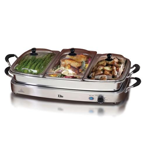 Elite EWM-9933 Platinum Deluxe 3x2.5 qt Buffet Server w/8 qt Oven Safe Pan