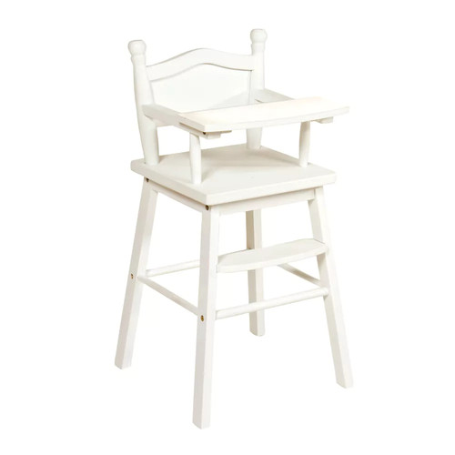 Guidecraft White Wooden Doll High Chair with Tray - Fits 18