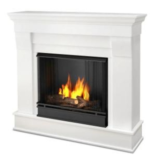 Real Flame Chateau 41 in. Ventless Gel Fuel Fireplace in White