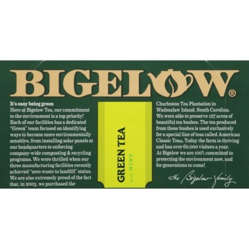 Bigelow Green Tea with Mint, 20-Count Boxes (Pack of 6)
