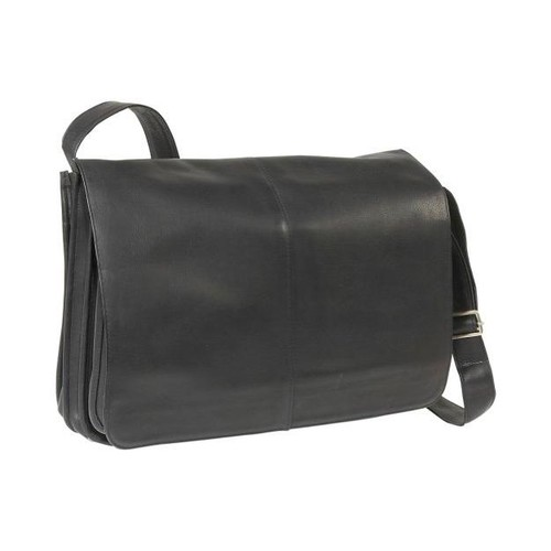 Le Donne Leather Full Flap Leather Laptop Messenger Bag [Black]