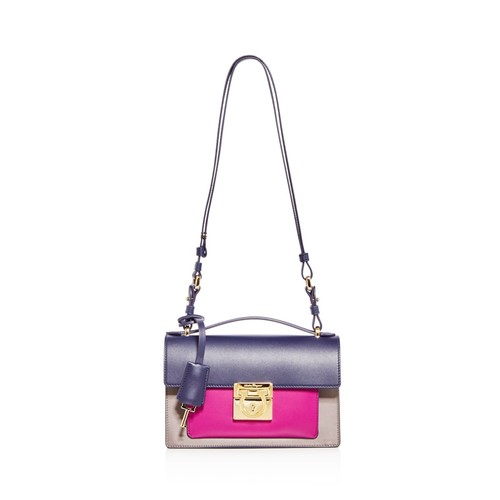 SALVATORE FERRAGAMO Aileen Color Block Leather Shoulder Bag