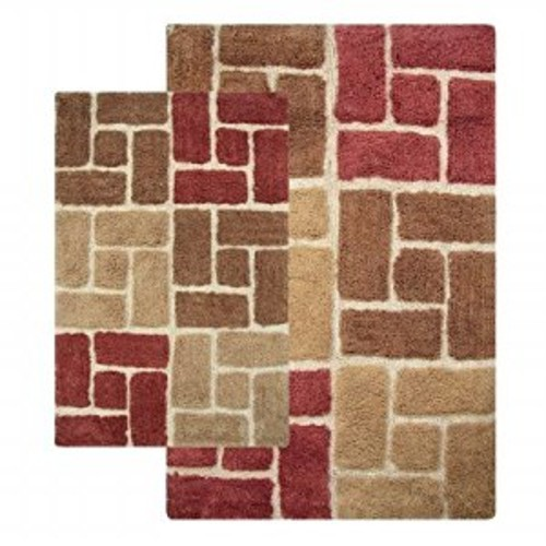 Chesapeake Merchandising 44703 Berkeley 2 Piece Bath Rug Set 21 in. x 34 in. and 24 in. x 40 in. Adobe