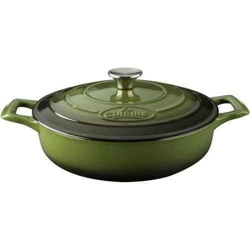 La Cuisine Pro Saute 3.75 Qt. Cast Iron Casserole with Green Enamel
