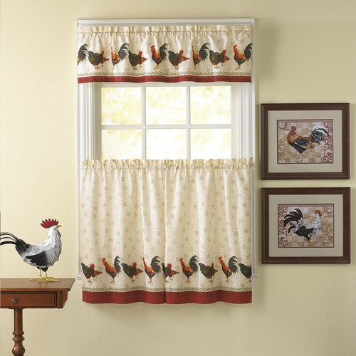CHF Morning Rooster 3-pc. Tier Kitchen Curtain Set