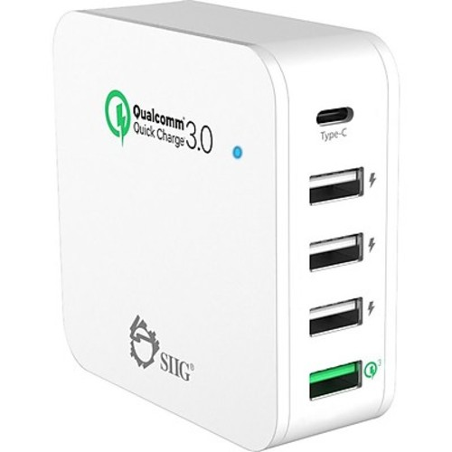 SIIG Multi-Flex Foldable 5-Port Charging Station with Type-C & QC3.0 Outputs 45W, White (AC-PW1824-S1)