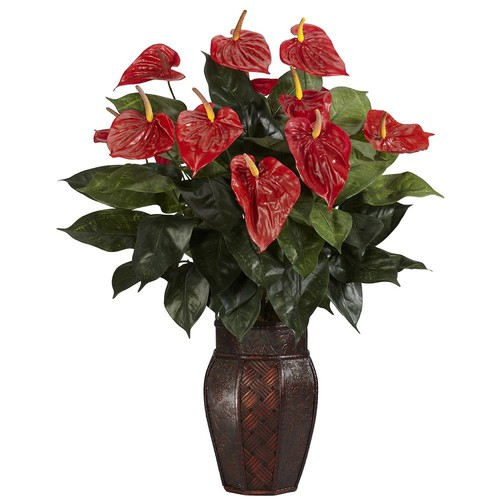 Nearly Natural 30 in. H Red Anthurium with Vase Silk Plant