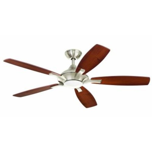 Home Decorators Collection Petersford 52 in. LED Indoor Brushed Nickel Ceiling Fan with Light Kit and Remote Control
