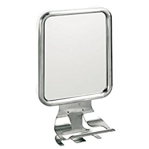 InterDesign Forma Suction Bathroom or Shower Shaving Mirror with Shaving Cream and Razor Holder - Brushed Stainless Steel [Suction Mirror]