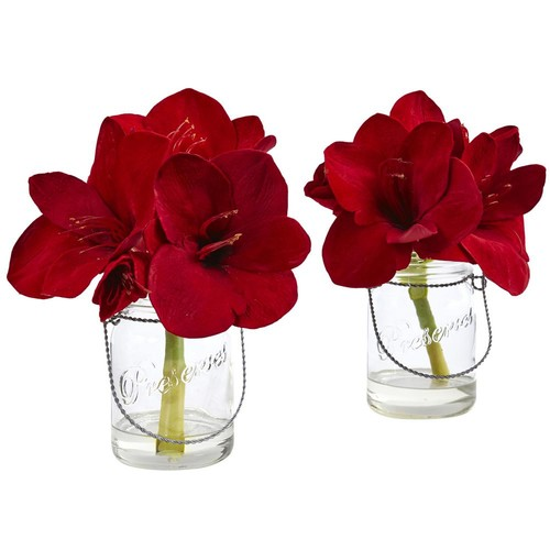 Nearly Natural Amaryllis in Glass Vase (Set of 2)