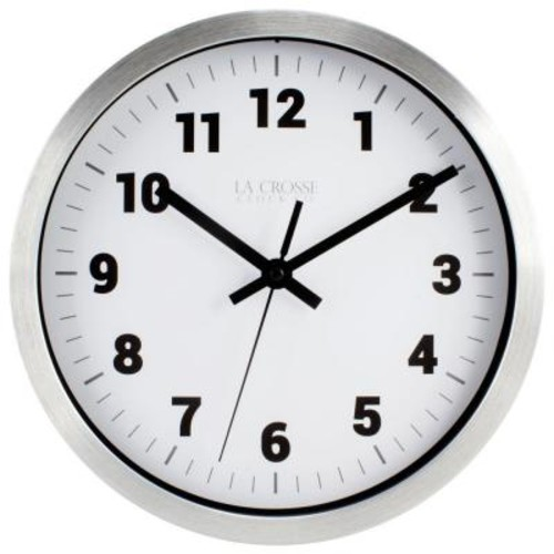 La Crosse Technology 10 in. H Silver Metal Analog Wall Clock with White Dial