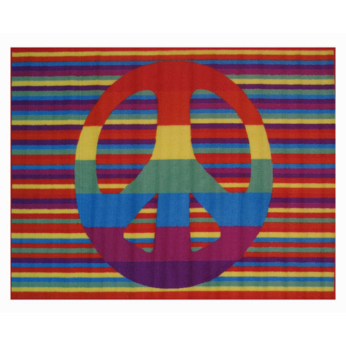 Groovy Peace Multi-colored Accent Rug (3'3 x 4'8)
