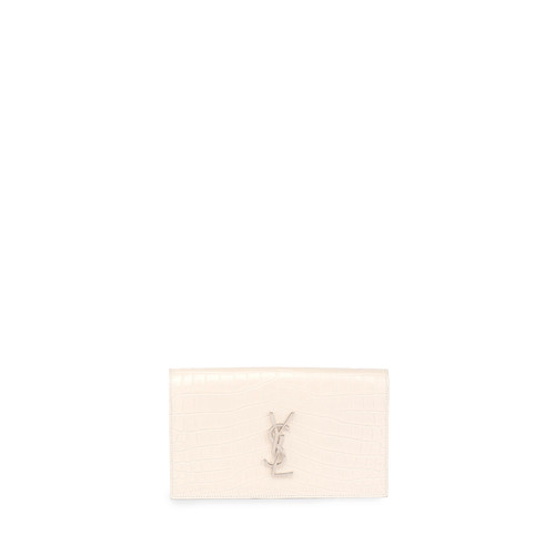 SAINT LAURENT Monogram Croc-Embossed Clutch Bag, White